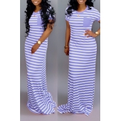 Lovely Casual Striped Baby Blue Floor Length Maxi