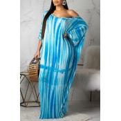 Reizendes Beiläufiges Blaues Kleid Mit Schulterdruck (mit E