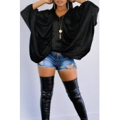 Lovely Casual Batwing Sleeves Black Shirts