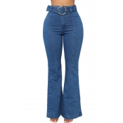 Lovely Trendy Trumpet-shaped Blue Jeans(With Belt)