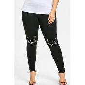 Lovely Casual Character Printed Black Leggings