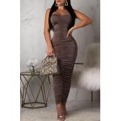 Lovely Sexy Sleeveless Ruffle Dark Brown Ankle Length Dress