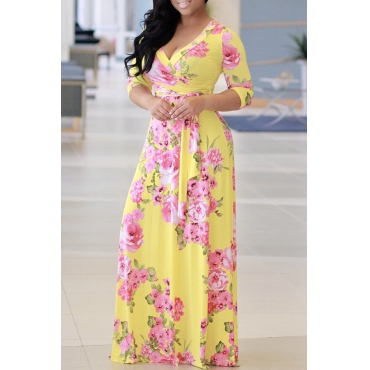 Lovely Casual Floral Printed Yellow Floor Length Dress