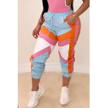 Lovely Trendy Patchwork Multicolor Mid Drawstring Pants