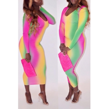 Lovely Casual Gradual-change Multicolor Mid Calf Dress