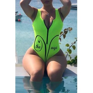 Lovely Casual Zipper Design Green One-piece Swimwear
