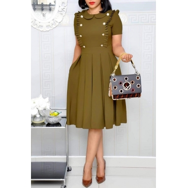 Bel Vestito A Balze Verde Militare Di Design A Balze