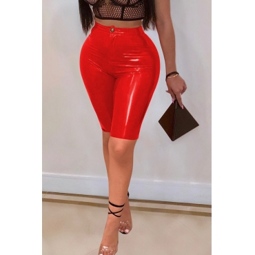 Lovely Trendy Skinny Red PU Shorts