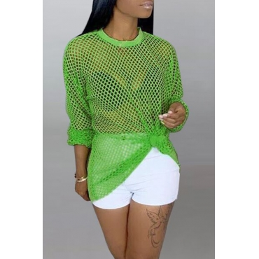 Lovely Casual Hollowed-out Green Blouses