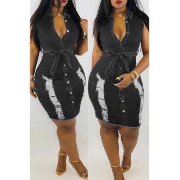 Lovely Pre-sale Broken Holes Lace-up Black Denim Dress(With Belt)