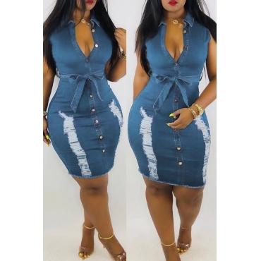 Lovely Pre-sale Broken Holes Lace-up Baby Blue Denim Dress(With Belt)