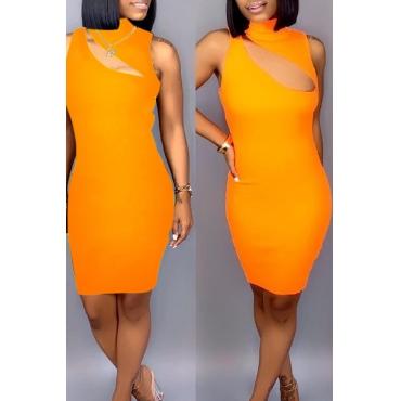 Precioso Y Sexy Mini Vestido Con Mezcla De Naranja Ahuecado