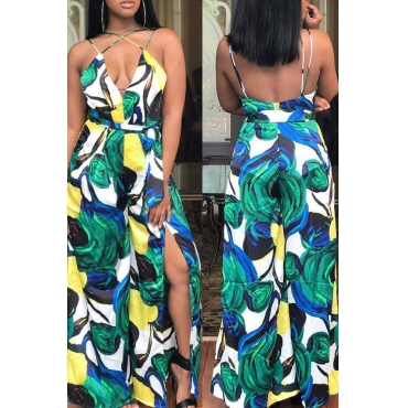 Lovely Bohemian  Floal Printed Side Slit Multicolor One-piece Jumpsuit
