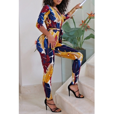 Lovely Bohemian Floral Printed Multicolor Twilled Satin One-piece Jumpsuit