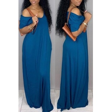 Lovely Casual Pockets Design Blue Blending Floor Length Dress