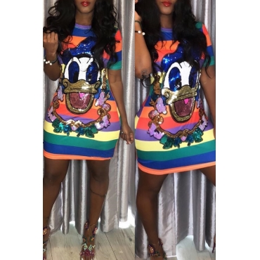 Lovely Sweet Character Printed Striped  Multicolor  Mini Dress
