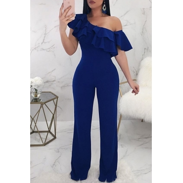 Lovely Casual Dew Shoulder Blue Knitting One-piece Jumpsuit