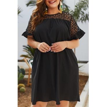 Lovely Plus-size Patchwork Loose Black Mini Dress