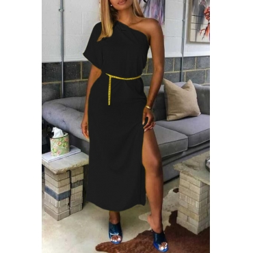 Lovely Casual One Shoulder Black Mid Calf Dress(Without Belt)
