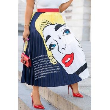 Lovely Bohemian Portrait Printed Deep Blue Ankle Length Skirts