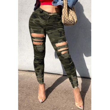 Lovely Casual Printed Camouflage Printed Knitting Pants