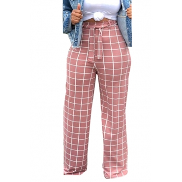 Lovely Pink High Waist Plaid Pants(With Elastic)