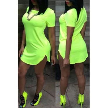 Lovely Blending Casual Solid Regular sleeve Short Sleeve O Neck Mini Straight Small Elastic Dresses