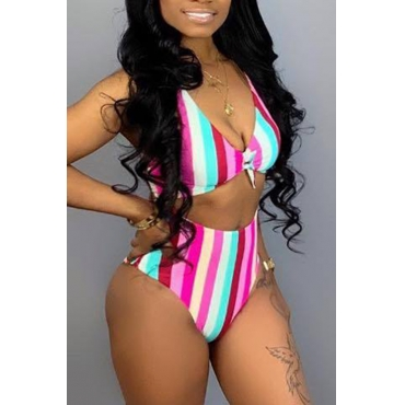 Lovely Striped High Waist Two-piece Swimwear(Not Padded)