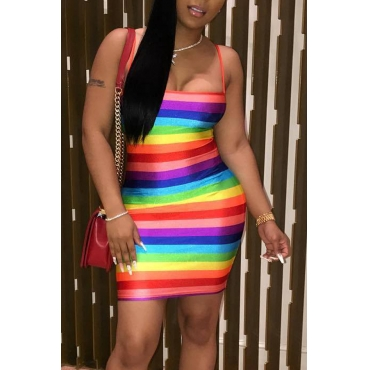 Lovely Striped Mini Dress(With Elastic)
