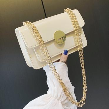 Lovely Trendy Chain Creamy White Messenger Bag