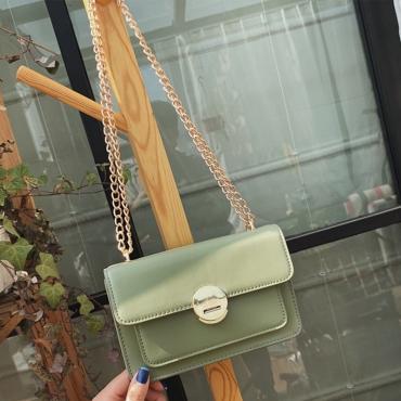 Lovely Trendy Chain Green Messenger Bag