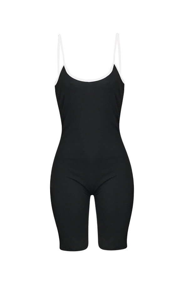 Lovely Casual Patchwork Skinny Black One-piece Romper