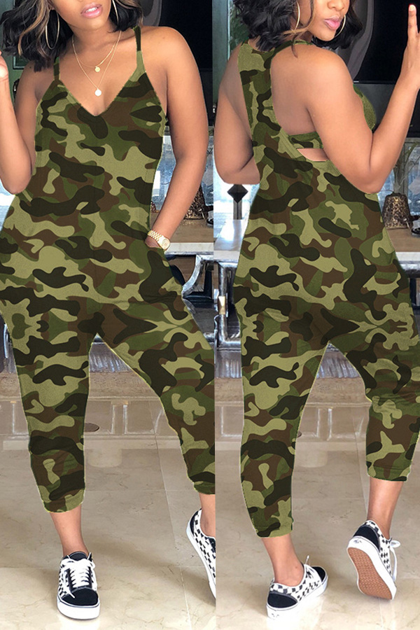 Lovely Casual Camouflage Printed Army Green One-piece Jumpsuit(With Elastic) фото