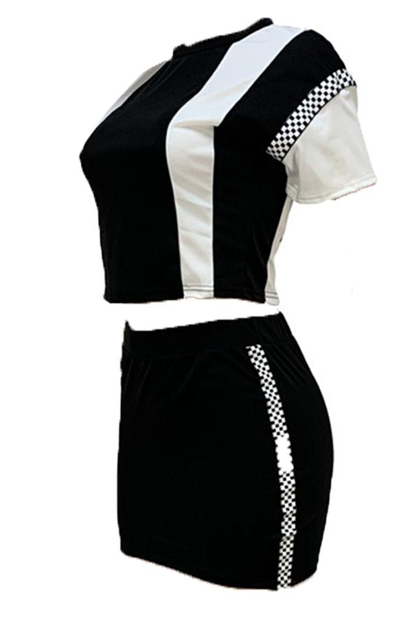 Precioso Conjunto De Falda De Dos Piezas De Patchwork Casual Negro
