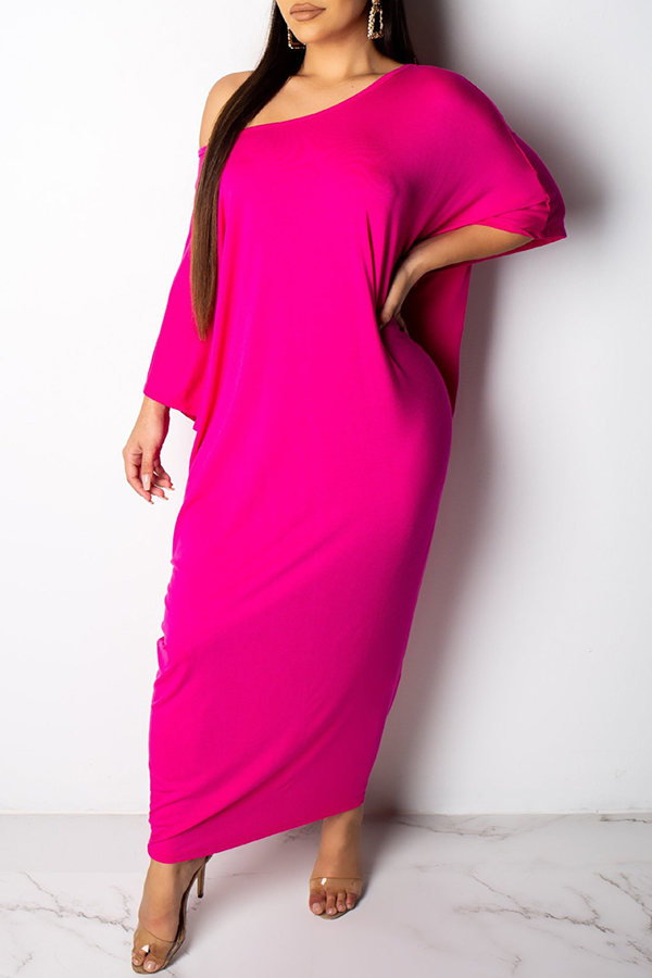 Lovely Casual Batwing Sleeve Loose Rose Red Ankle Length Dress