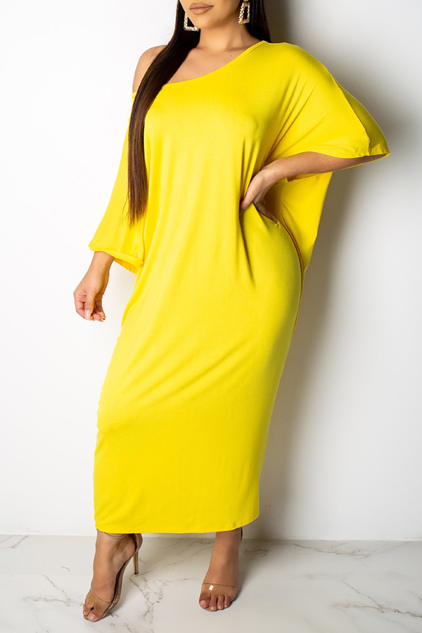Lovely Casual Batwing Sleeve Loose Yellow Ankle Length Dress