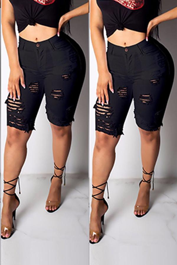 Lovely Casual Broken Holes Black Shorts
