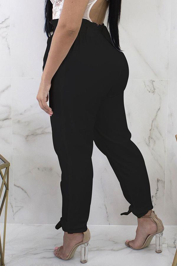 Lovely Stylish High Waist Lace-up Black Pants