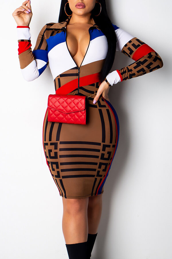 Lovely Stylish Printed Zipper Design Dress(With Elastic)