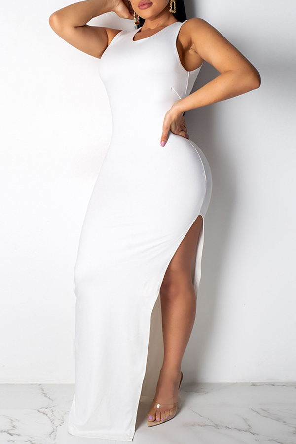 Lovely Sexy Side Split Hollow-out White Ankle Length Dress(With Elastic)