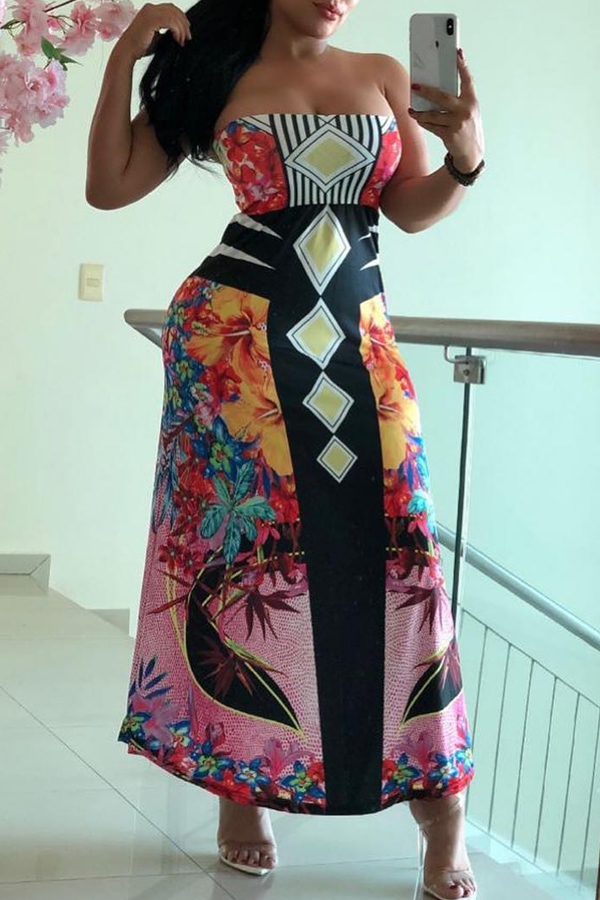 Lovely Off The Shoulder Printed Ankle Length A Line Dress(With Elastic)