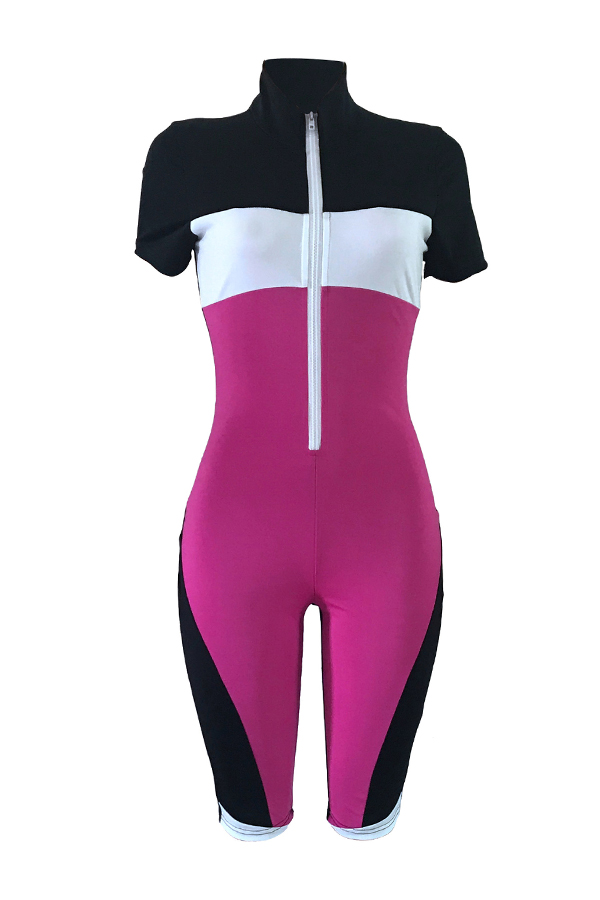 Lovely Leisure Patchwork Zipper Design One-piece Romper(With Elastic)