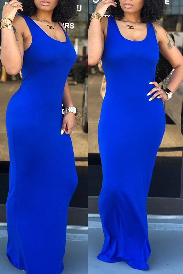 Lovely Casual Royal Blue Floor Length Dress(With E