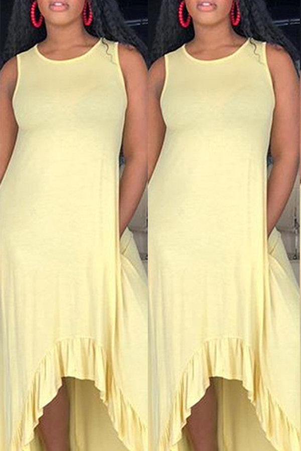 Lovely Casual Asymmetrical Yellow Ankle Length Dress(With Elastic)