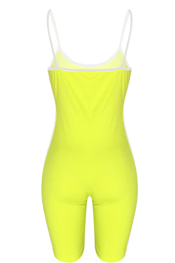Lovely Casual Striped Patchwork Yellow One-piece Romper