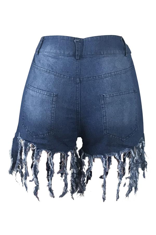 Encantador Diseño Casual De Borla Azul Jeans