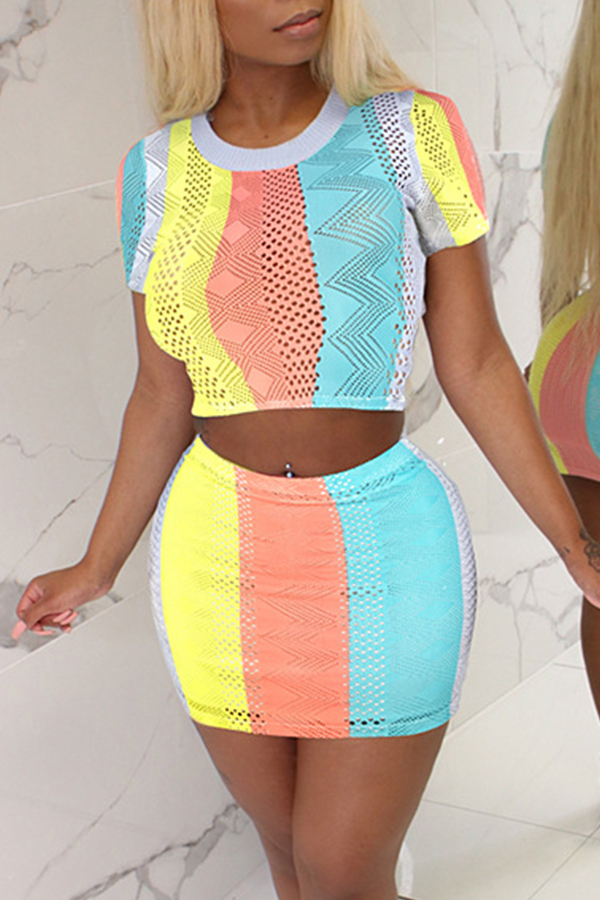 Lovely Casual Striped Patchwork Two-piece Skirt Set
