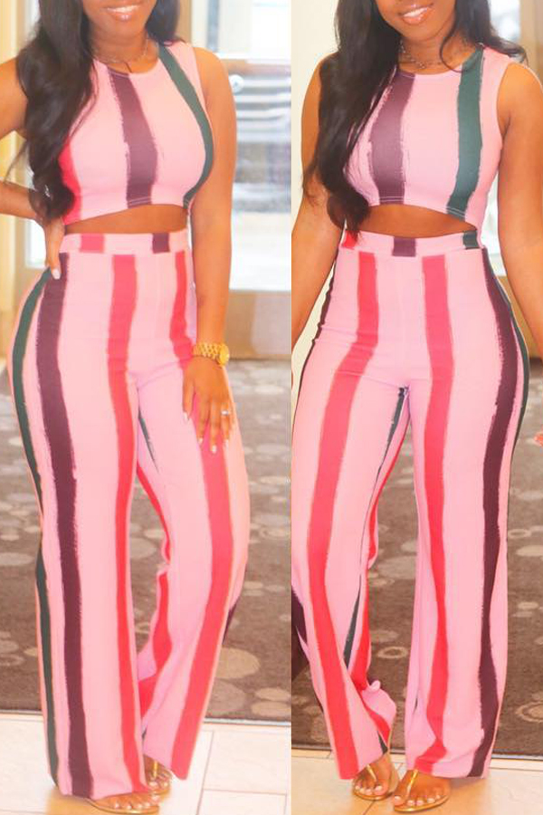 Lovely Leisure Striped Two-piece Pants Set
