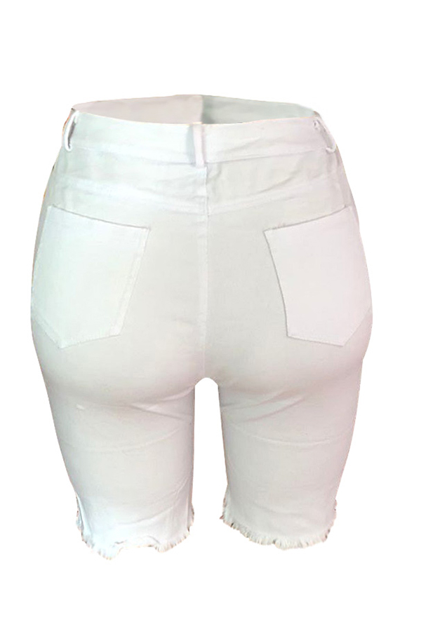 lovelywholesale / Lovely Casual Broken Holes White Shorts