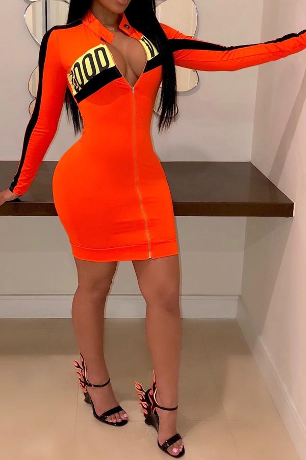 Lovely Leisure Mandarin Collar Letter Printed Mini Dress